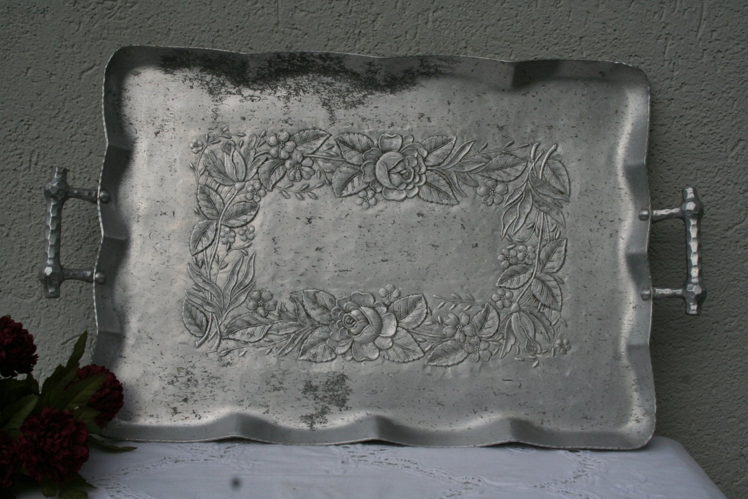 Vintage 8 sided hammered metal tray