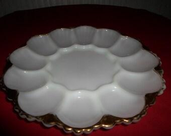 Vintage Fire King Milk Glass Egg Plate