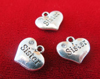 "5pc ""Sister"" charms in antique silver style (BC248)"