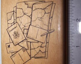 Judi Kins 2335G Passport  Wooden Rubber Stamp ~ Collage ~ Scrap-booking ~ Card Making