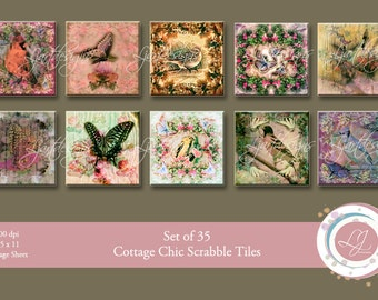 """Cottage Chic Collage Sheet, Butterfly and Birds, Scrabble Tiles, 1""""x 1"""", Pendant, Jewelry Supply, Digital Scrapbooking, Crafts, Printable"""