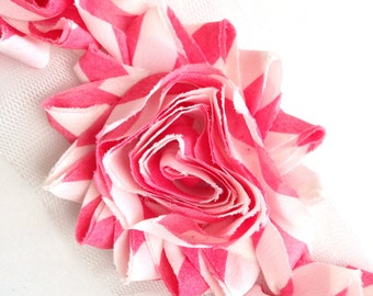 Shabby Rose Flower Trim--Pink and White Stripes