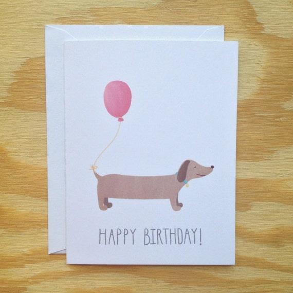 Happy Birthday greeting card, balloon, dachshund dog