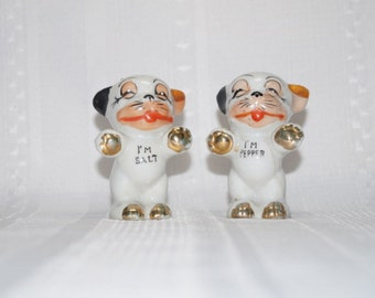 Vintage Salt and Peppy Dog Salt and Pepper Shakers Bull Dogs