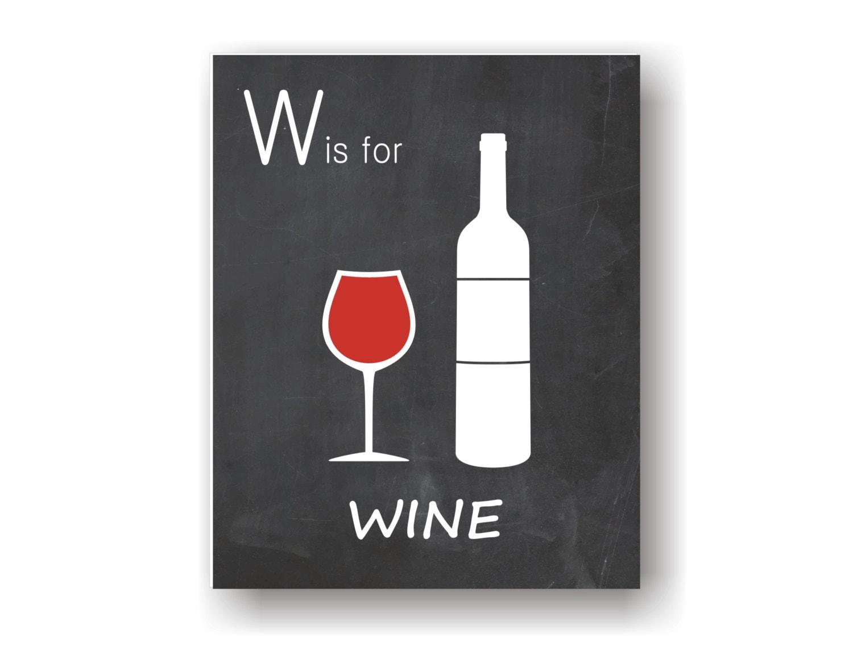 Red wine art print wine decor chalkboard art by verboseprints for Wine chalkboard art