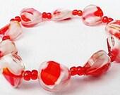 Multi-Color Bracelet, Glass Beaded Bracelet, Stretch Bracelet, White and Pink Bracelet, Multi-Color Stretch Bracelet, Multi-Color Jewelry