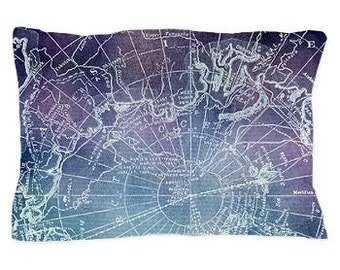 Purple Arctic Circle Map Pillow Case - Vintage map - blue and purple unique travel, wander, classic, vintage design