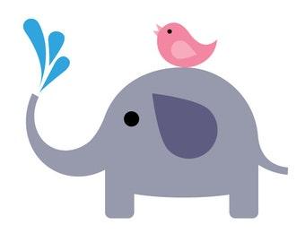Elephant and Bird Applique PDF Pattern