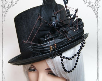 Ship Tophat (Goth, topper, steampunk, black, hat , pirate )