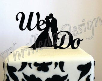 8 inch We Do Silhouette CAKE TOPPER - Celebrate, Party, Cake Decoration, Bride, Groom