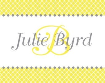Yellow Quatrefoil with Gray Calling Card