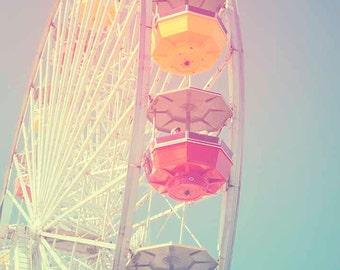 Beach Photography Santa Monica Pier Ferris Wheel Pink blue Nursery Art California Los Angeles Dreamy Peppermint