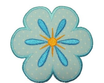 """Periwinkle Flower  Applique Machine Embroidery Design Pattern in 3 sizes 4"""", 5"""" and 6"""""""