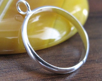 Sterling Silver base ring with loop (1pc)