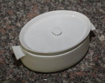 Vintage Apilco French White Porcelain Oval Casserole - 2qt