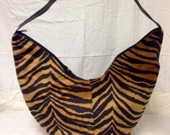 Large Hobo bag,Zebra Print,brown,black, Purse, Shoulder Bag