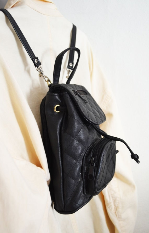 Free Ship Black Quilted Mini Backpack Purse by crazygoodbananas