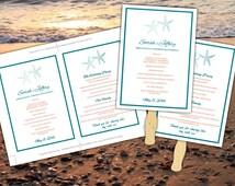 Beach Wedding Fan Caribbean Blue Coral Spice Starfish Microsoft Word Template - Ceremony Program - Outdoor Tropical Wedding Program Favor