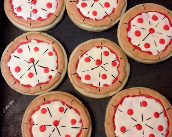1 dozen Pizza cookies- pizza party, TMNT, Ninja turtle cookies