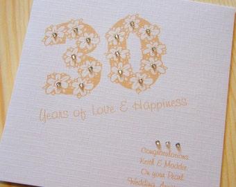 Handmade Card - Wedding Anniversary 30th Pearl - personalised