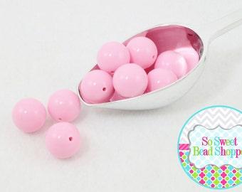 20mm Chunky Acrylic Beads 10ct, Light Pink, Gumball Beads, Round