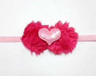 Jasmin- Hot Pink birthday Headband, Valentine's Day Headband, Heart Headband, Pink Headband, Shabby Chic Headband, hot pink headband