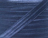 Navy Blue Fold Over Elastic - Elastic For Baby Headbands and Hair Ties - 10 Yards of 5/8 inch FOE