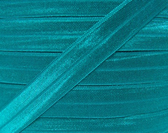 Teal Fold Over Elastic - Elastic For Baby Headbands and Hair Ties - 5 Yards of 5/8 inch FOE
