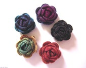 Set of 5 flowers made with wool in autumn fall colors