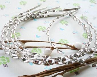 20 pcs 3mm silver  Metal twist Headbands, curly headbands,fried dough twist headbands with end. headbands DIY