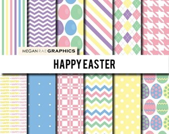 Digital Paper - 12x12 HAPPY EASTER digital paper pack (High resolution papers) - Digital files