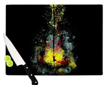 """Artistic Glass Cutting Board -Kess Inhouse  Frederic Levy-Hadida """"Midnight Syphony"""" Great Hostess Gift - Matches Placemats!"""