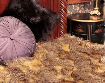 FUR ACCENTS  Faux Fur Bedspread / Comforter / Tan and Brown Feather Fur