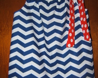 Fourth of July Pillowcase Dress Blue White Chevron Red White Polka Dot 3month-6 Girls Toddler Infant Summer July 4th Beach Vacation