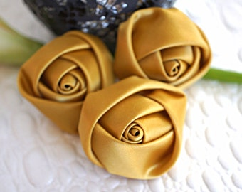 "Set of 3 Rolled Rosettes 1.5"" - Gold - Satin Flower - Satin Rose - Small Rosettes - Satin rosettes - Rolled flowers - Wholesale - supply"
