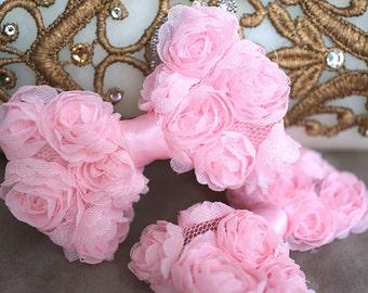 "Set of 2 Shabby Mini Rosette Bows - Pink Fabric Shabby Bow - Mini Rosette Bow - Shabby Flower bows - Shabby Chiffon Rosette 2.5"" bow"