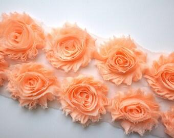 Peach Shabby Rose Trim - Shabby Chiffon Rosettes - Peach Shabby Trim - Shabby Chiffon Flowers 1/2 Yard or 1 Yard