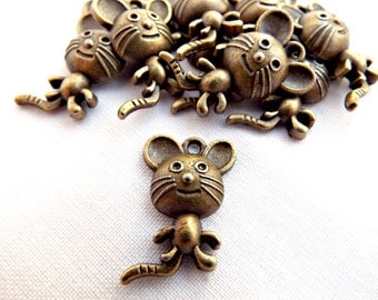 Bronze Mouse Charms, Jewelry Charms, Metal Charms, Bronze Charms, 20 Bronze Mice, Charm Bracelet, Mouse Pendant, Jewelry Supplies, UK Seller