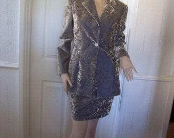 EXTE ITTIERRIE Italy Golden Crushed Velvet Vintage Suit SZ 8