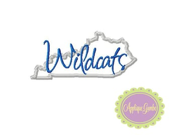 Wilcats Kentucky Map  Machine Embroidery Applique Design