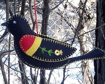 Red-wing Blackbird ornament, Wool felt bird ornament, Embroidered Red-wing Blackbird, Folk Art Felt Bird