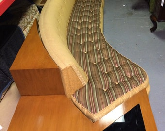 Mid Century Modern curved sofa with end table circa 1962