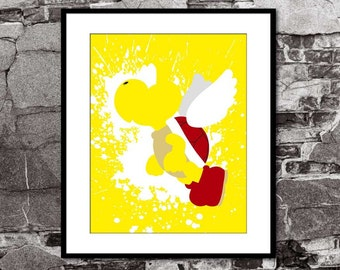 Koopa Troopa Splatter - Super Mario Brothers Inspired - Video Game Art Poster
