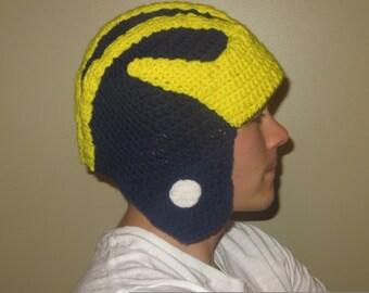 University of Michigan Inspired Crocheted Helmet Hat Adult Size