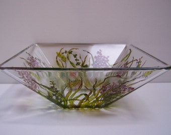 Glass Wildflower Serving Bowl
