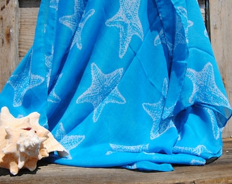 Blue Starfish Scarf - Screen Print - Gift - Summer