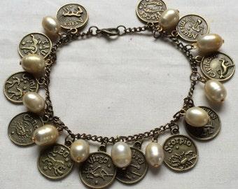 Zodiac & Fresh Water Pearl Charm Bracelet Astrology Hoodoo Witchcraft Conjure
