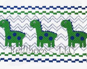 Dinosaur Faux Smocking - Dinosaur Embroidery Design - Embroidery Design - Faux Smocking - Boy Embroidery Design - Dino Faux Smocking