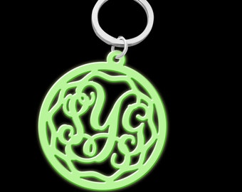 Monogram Keychain Acrylic Glow in the dark Silver Color Key Ring