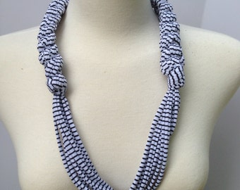 White with Stripes T-Shirt Yarn Necklace Style #1 Adult